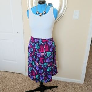 Lularoe Madison Skirt Purple Heart Print size XL